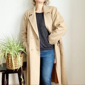 Vintage Sears Beige Wool Mohair Long Coat Size 10